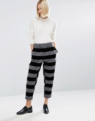 Asos White Flock Stripe Pull On Trouser Grey Multi