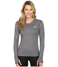 New Balance Heathered Long Sleeve Shirt Black Heather Women's Long Sleeve Pullover