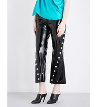 Marques Almeida Cropped Flared Faux Patent Trousers Black