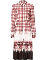 Altuzarra Tie Dye Pleated Shirt Dress Red