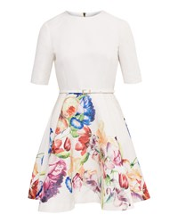 Ted Baker Frutti Tapestry Floral Full Dress Pastel Yellow