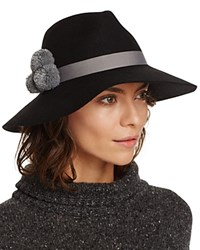 August Accessories Pom Pom Fedora Black Gray
