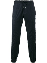 Etro Quilted Panel Track Pants Acetate Viscose Wool Blue