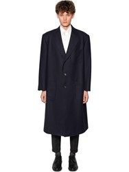 Thom Browne Oversize Double Face Wool Coat Navy