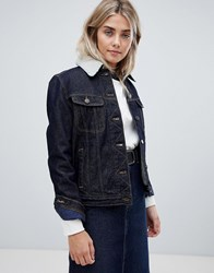 Lee Denim Jacket With Borg Lining Blue
