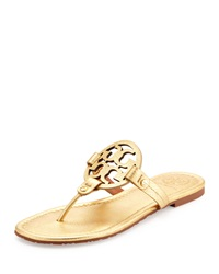 Tory Burch Miller Metallic Logo Thong Sandal Gold