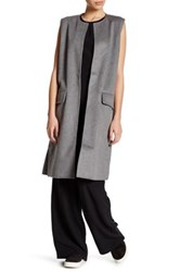 Cupcakes And Cashmere Sleeveless Wool Blend Long Vest Gray