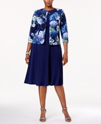 Jessica Howard Plus Size Empire Waist Dress And Printed Jacket Blue Multi