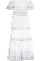 See By Chloe Off The Shoulder Broderie Anglaise Cotton Maxi Dress White