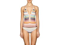 Missoni Zigzag Knit One Piece Swimsuit White Multi