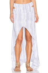Indah Kodiak Printed Hi Lo Ruffle Maxi Skirt Light Gray