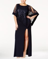 R And M Richards Plus Size Sequin Overlay Gown Navy