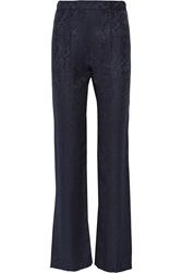 Oscar De La Renta Silk Jacquard Wide Leg Pants Blue