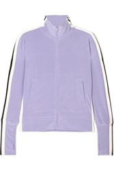 Norma Kamali Striped Stretch Jersey Track Jacket Purple