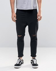 Asos Spray On Drop Crotch Jeans With Knee Rips In Black Black
