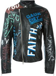 Diesel Black Gold Graffiti Leather Jacket
