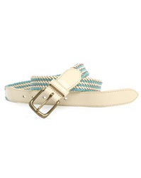 Scotch And Soda Blue And Ecru Braided Leather And Canvas Belt