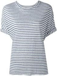 Current Elliott Striped T Shirt Women Cotton Polyester Rayon 1 Blue