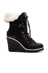 Australia Luxe Collective Mona Wedge Boot With Sheep Fur Black
