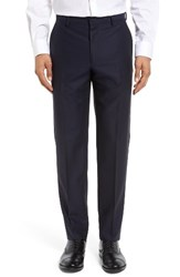Gi Capri Men's Flat Front Solid Wool Trousers Grey