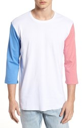 The Rail Contrast Sleeve T Shirt White Pink Blue