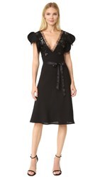 Rodarte Pleather And Wool Dress Black