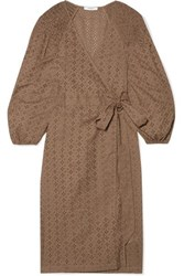 Marysia Pink Sands Broderie Anglaise Cotton Wrap Dress Brown
