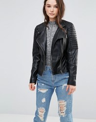 Barney's Originals Leather Biker Jacket With Quilting And Buckle Detail Black