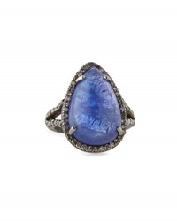 Bavna Tanzanite And Diamond Teardrop Cocktail Ring