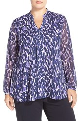 Plus Size Women's Sejour Sheer Sleeve Split Neck Blouse Purple Navy Sea Spray Print