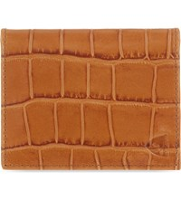 Aspinal Of London Crocodile Embossed Leather Id And Travel Card Holder Tan