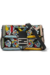 Fendi Baguette Micro Embellished Satin Shoulder Bag Black