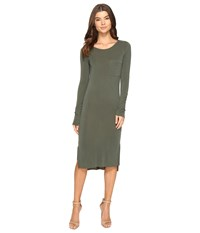 Culture Phit Fleta Long Sleeve Midi Dress With Pocket Olive Women's Dress
