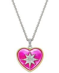 Macy's Diamond Heart Star Pendant Necklace 1 8 Ct. T.W. In 14K Gold Plated Sterling Silver Two Tone