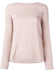 Eleventy Long Sleeved Top With Curved Hem Pink Purple