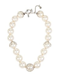 Betsey Johnson Faux Pearl Collar Necklace Silver