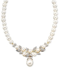 Macy's 14K Gold Necklace Cultured Freshwater Pearl And Diamond 3 8 Ct. T.W. Black