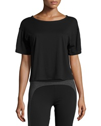 Solow Mesh Back Cropped Tee Black