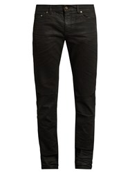 Saint Laurent Distressed Coated Skinny Jeans Black