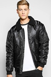 Boohoo Padded Bomber With Borg Collar Black