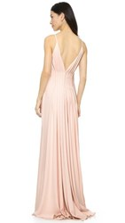 Badgley Mischka Collection Open Back Gown Light Blush