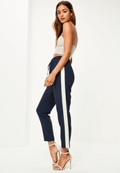 Missguided Navy Contrast Side Cuffed Joggers
