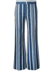 Chloe Striped Flared Trousers Blue