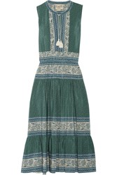 Sea Sabine Printed Silk Crepe Dress Dark Green