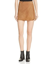 Theory Murta Suede Wrap Mini Skirt Driftwood