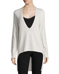 Halston Long Sleeve High Low Sweater Cucumber