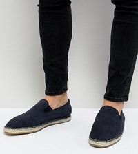 Frank Wright Wide Fit Slip On Espadrilles In Navy Suede
