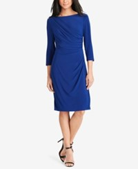 American Living Pleated Jersey Dress Blue