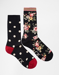 Cath Kidston Kingswood Rose And Spot 2 Pack Socks Multi