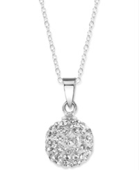 Unwritten Sterling Silver Necklace Crystal Pave Ball Pendant